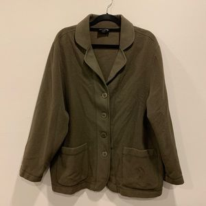 Eileen Fisher Brown 100% Wool Button-Up Jacket